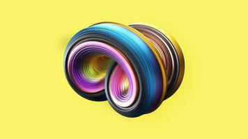 Abstract 3D spiral object on yellow background photo