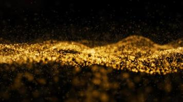 Abstract digital transformation golden color wave particles photo