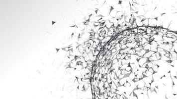 Estructura del plexo negro abstracto en la esfera de la tierra agrietando y explotando foto