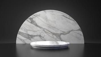 White marble product half moon circle stand on black background photo