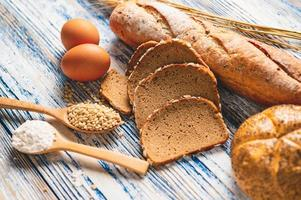 Different kinds of bread with nutrition whole grains photo