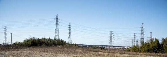 Power line in nature and sky, landscape photo