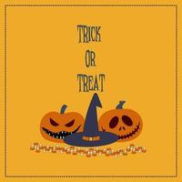 Trick or Treat Halloween Card with Pumpkins and Witch Hat vector