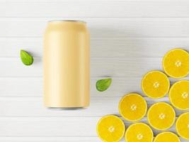 A can of orange juice with oranges on a white background. photo