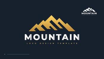 Golden Mountain Logo. Landscape Hills Logo Design vector