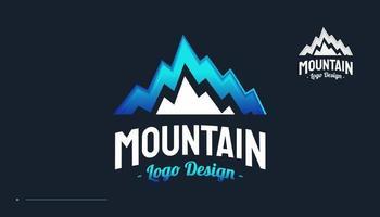 Blue Mountain Logo. Landscape Hills Logo Design vector