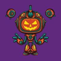 Mecha robot halloween pumpkin character vector