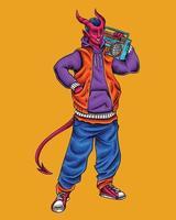 Devil urban hiphop style holding radio vector