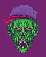 Scary green zombie with snapback hat vector
