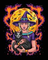 Hallooween witch holding black skull cat vector