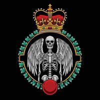 Angel skeleton badge with crown logo vector