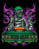 zombie mummy smoking weed and riding lowrider car vector