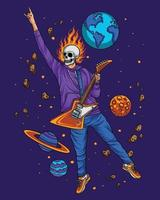 Flying Skeleton playing guitar on the space vector