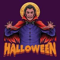 Halloween Scary Dracula King with moon vector
