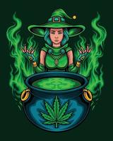 Green marijuana witch with magic spell vector