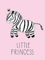 Cute zebra doodle crown Hand drawn safari animals Text little princess vector