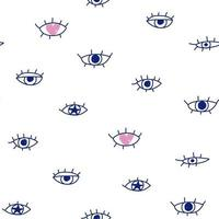 Cute blue eyes pattern doodle heart Hand drawn seamless white paper vector