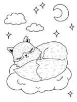 Cute cartoon fox sleeping clouds Coloring book animal stars moon vector