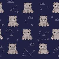 Cute bear blue pattern stars clouds Hand drawn seamless forest animals vector