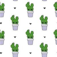 Cute cartoon happy baby cactus white pattern with doodle hearts vector