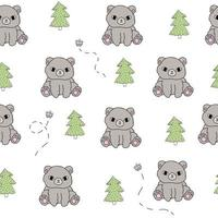 Cute bear white pattern tree doodle Hand drawn seamless forest animals vector