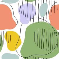 Hand drawn seamless abstract colored pastel pattern line paper fabric vector