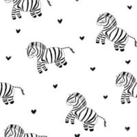 Cute zebra white pattern black hearts Hand drawn safari animals vector