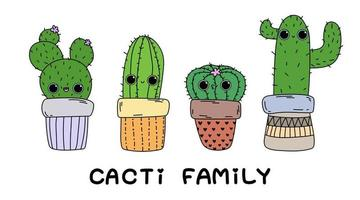 Cute cartoon cactus Cacti family text isolated doodle illustration vector