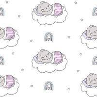 Cute cartoon pet baby rabbit night bunny white pattern stars rainbows vector