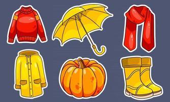 pegatinas. calabaza, bufanda, impermeable, suéter, botas de goma, paraguas. vector