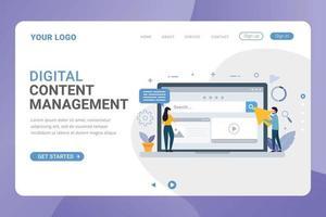 Landing page template digital content management design concept vector