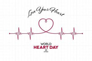 World Heart Day Banner with Cardiogram Shape vector