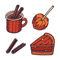 Autumn Vector mug, cinnamon, piece of pumpkin pie, apple with caramel.