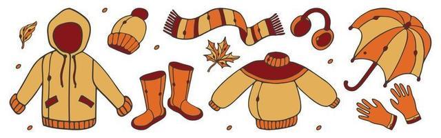 conjunto de ropa de otoño. impermeable, botas de goma, bufanda, gorro, guantes, vector