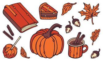 Autumn Vector set. Pumpkin, piece of pie, mug, cinnamon, acorns