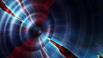 Círculo de superficie de color rojo azul oscuro 3d con el efecto de onda video