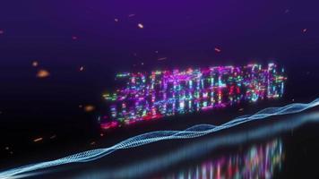boucle de scintillement de mot de texte coloré de vente d'été avec effet numérique video