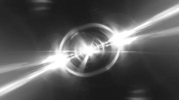 black and white flare light tunnel rotation loop. video