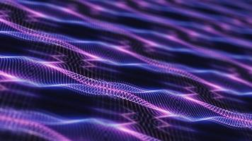 movement of pink blue light wire frame mesh wave movements effect. video