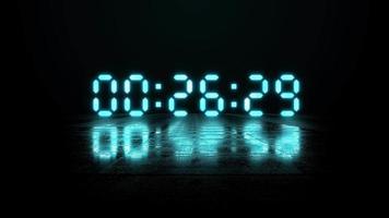 Luz de neón azul Cuenta regresiva digital de 30 a 0 segundos sobre fondo negro video