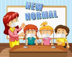 New Normal text design with students and teacher wearing face masks vector