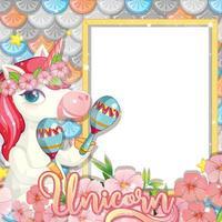 Blank banner with beautiful pegasus cartoon character vector