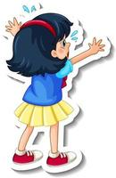 Sticker template with behind of a girl cartoon character isolated vector