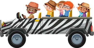 Zoo concept with children on tourist car isolated on white background vector