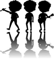 Set of kids silhouette with reflex on white background vector