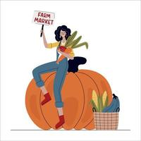 Farmer woman sitting on huge pumpkin vector