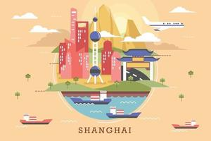 Vector illustration of shanghai, flat design concept