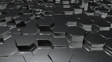 Abstract black metallic honeycomb on random surface level photo
