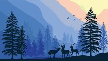 wildlife elk in forest nature landscape vector illustration