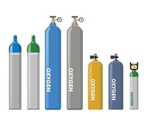 Equipment medical Oxygen tank vector collection